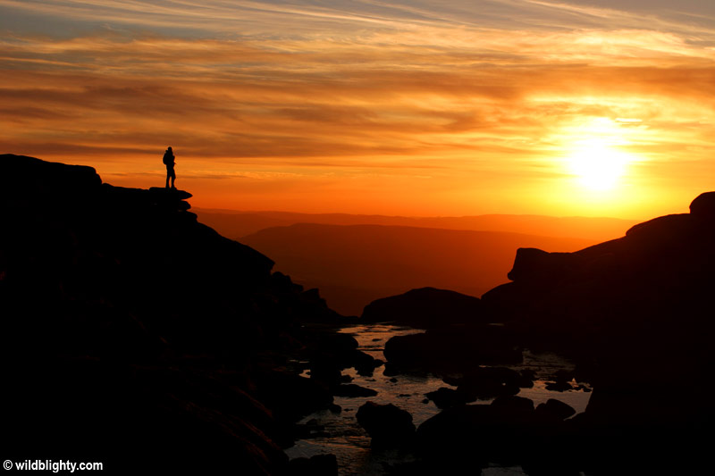 Sunset at Kinder Downfall on Kinder Scout in the Peak District.