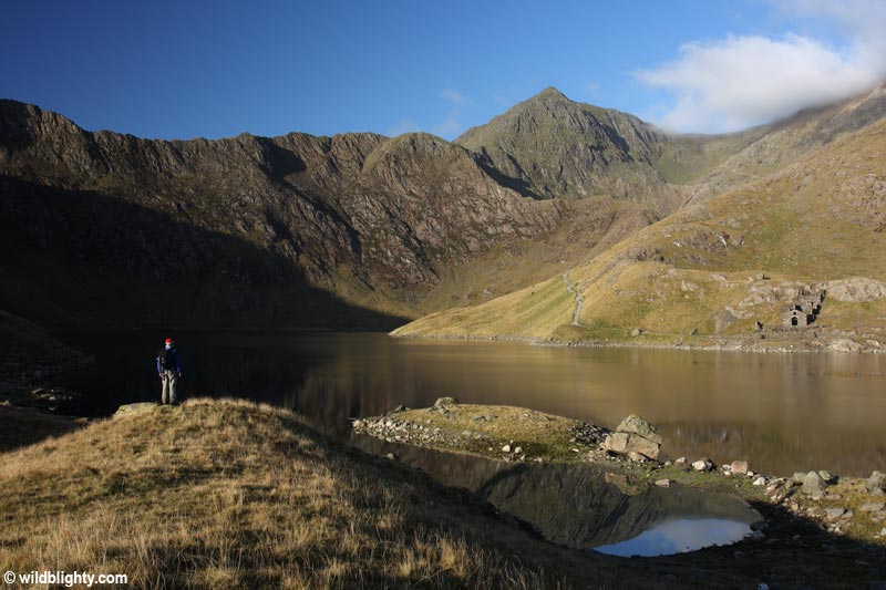 Snowdon viewed from Llyn Llydaw close to the Miners Path in Snowdonia National Park