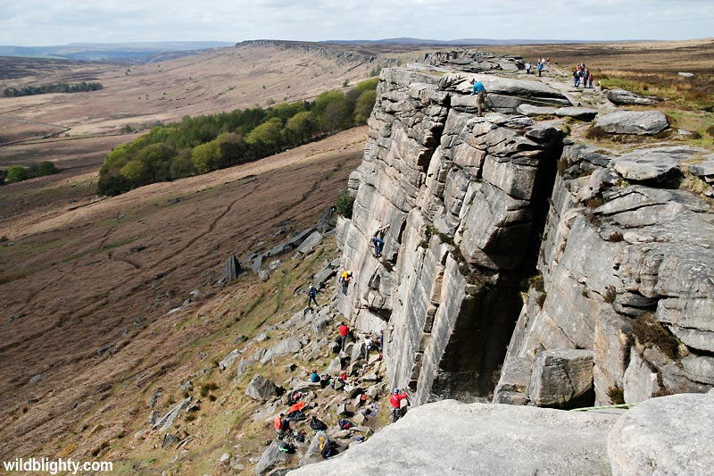 View of climbers on Stanage Edge
