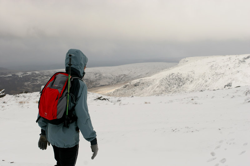 Snowy walk on Kinder Scout