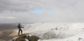 Snowy walk on Kinder Scout