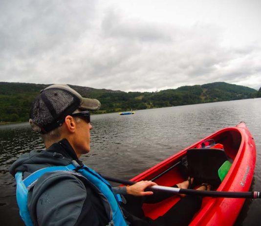 A POV image of kayaker on Llyn Gwynant