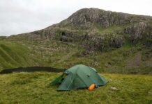 Tent pitched at Angle Tarn with Bowfell behind