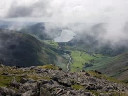 View of Wasdale Head and Wast Water from Great Gable.