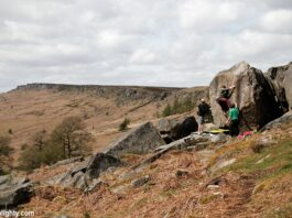 Climbers Bouldering at Stanage Plantation