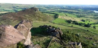 Elevated view from The Roaches in the White Peak area of the Peak District