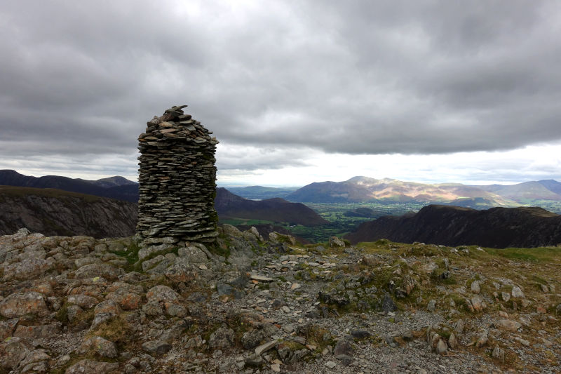 Dale Head Summit Cairn and distant mountain views