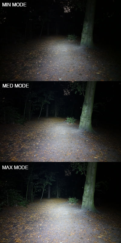 3 images showing the different light modes