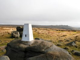 Kinder Low Trig (white stone) Point on Kinder Scout