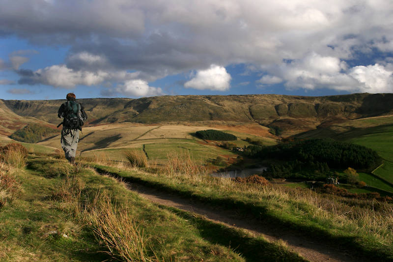 Distant view of the Kinder Scout plateau from Snake Path.