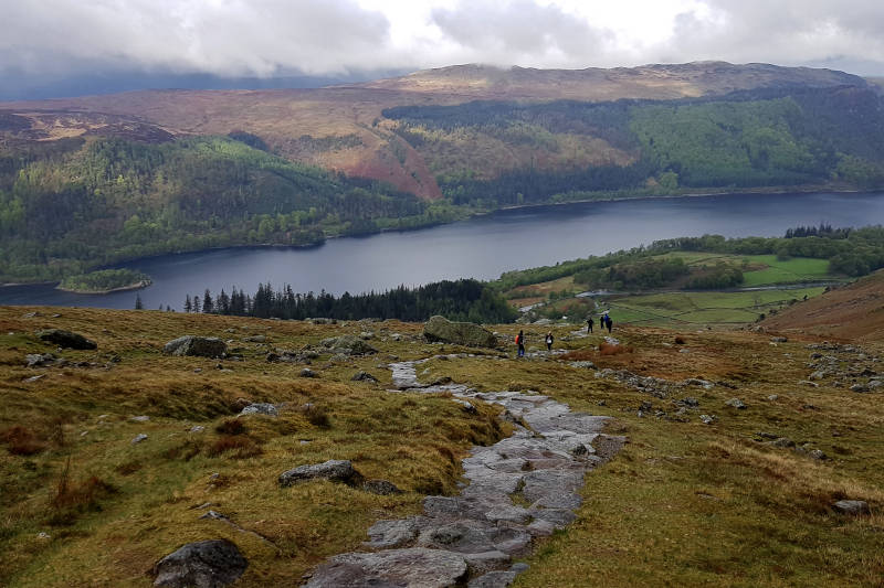 View of Thirlmere and rocky path