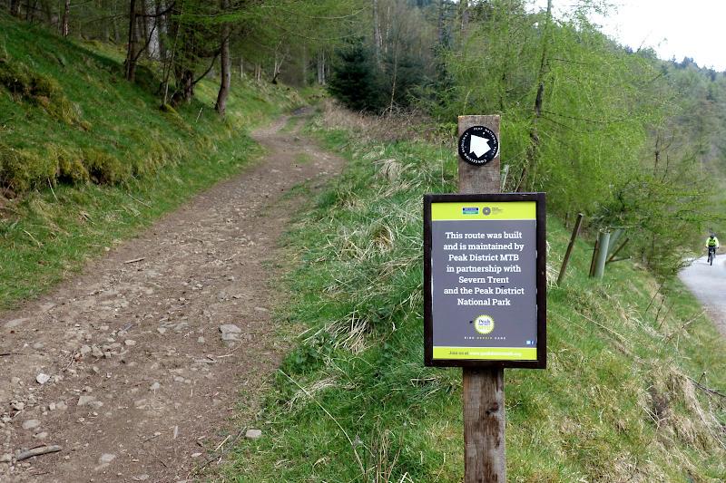 Peak DIstrict MTB sign and steep stony trail