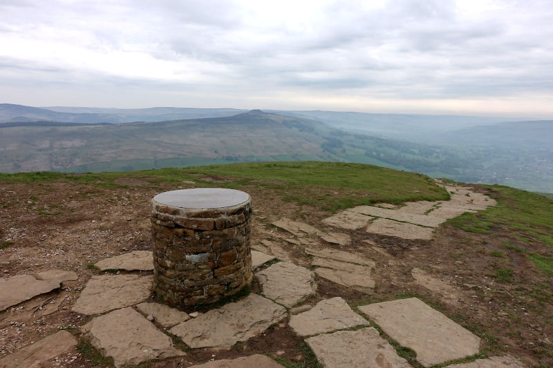 Lose Hill Summit Trig and Win Hill beyond